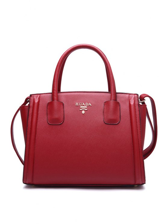 sale PU Leather Solid Color Tote Bag - RED