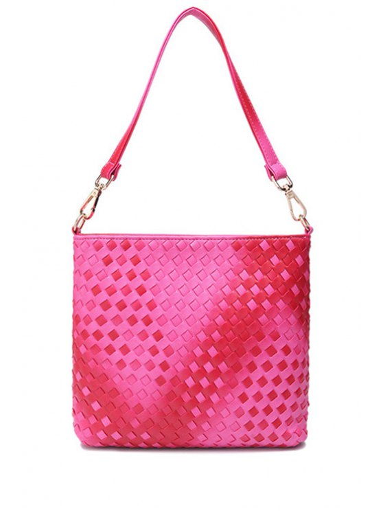 latest Gradient Color Weaving Zipper Shoulder Bag - ROSE