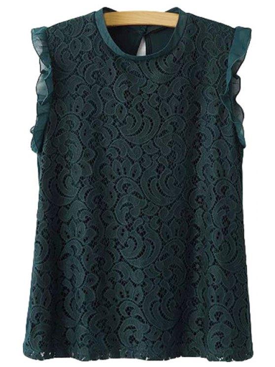 new Flounce Lace Splicing Sleeveless T-Shirt - GREEN S