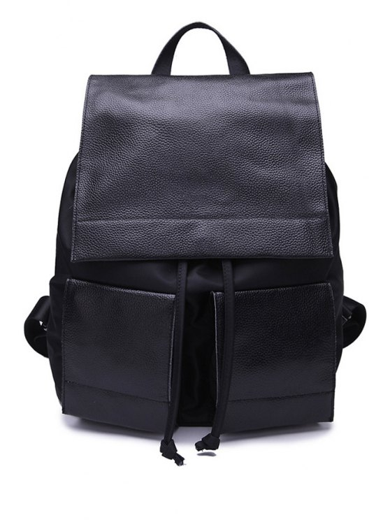 affordable String Black PU Leather Satchel - BLACK