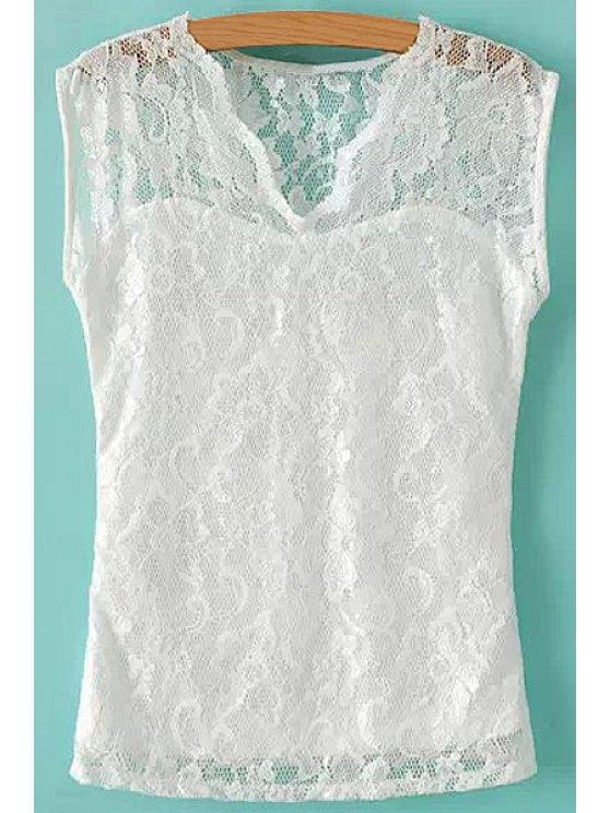 latest Openwork Lace Sleeveless T-Shirt - WHITE S