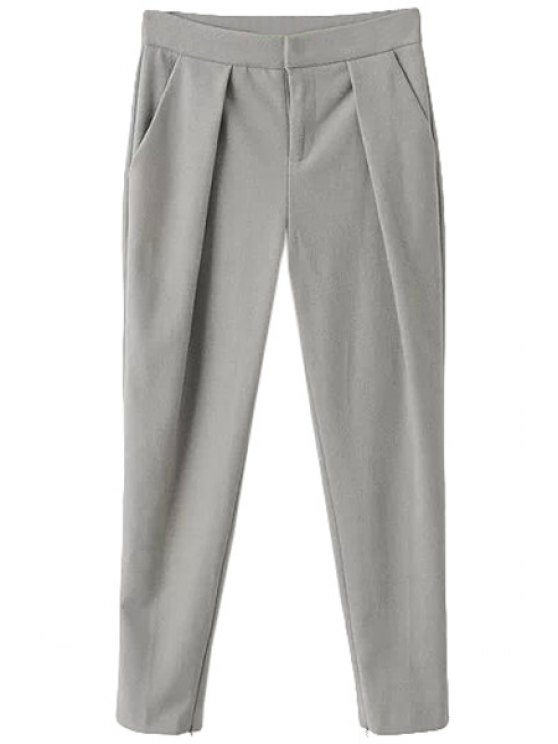 trendy Zipper Fly Solid Color Nine Minutes of Pants - GRAY S
