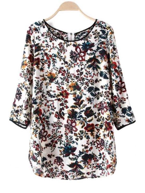 sale Floral Print Back Zipper T-Shirt - WHITE S