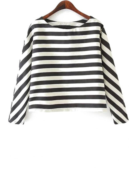 hot Stripe Long Sleeve T-Shirt - WHITE AND BLACK S