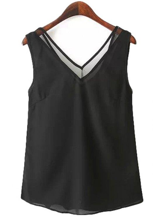 women's Solid Color Mesh Tank Top - BLACK S