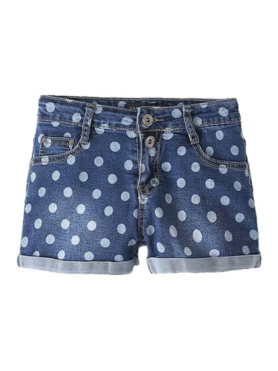 online Polka Dot Denim Shorts - BLUE S