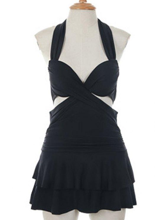 sale Solid Color Halterneck One-Piece Swimwear - BLACK M