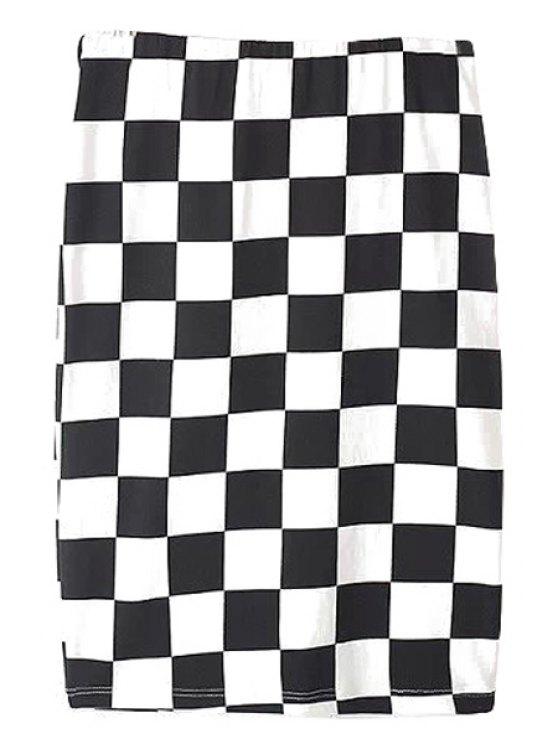 hot Plaid Straight Skirt - WHITE AND BLACK S