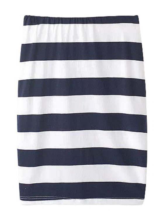 shop Stripe Straight Skirt - BLUE AND WHITE S
