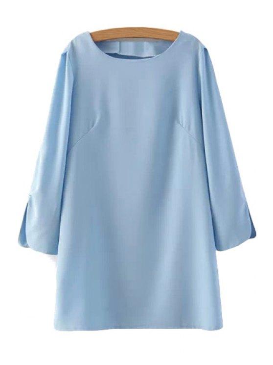 new Solid Color Slit 3/4 Sleeve Dress - LIGHT BLUE S