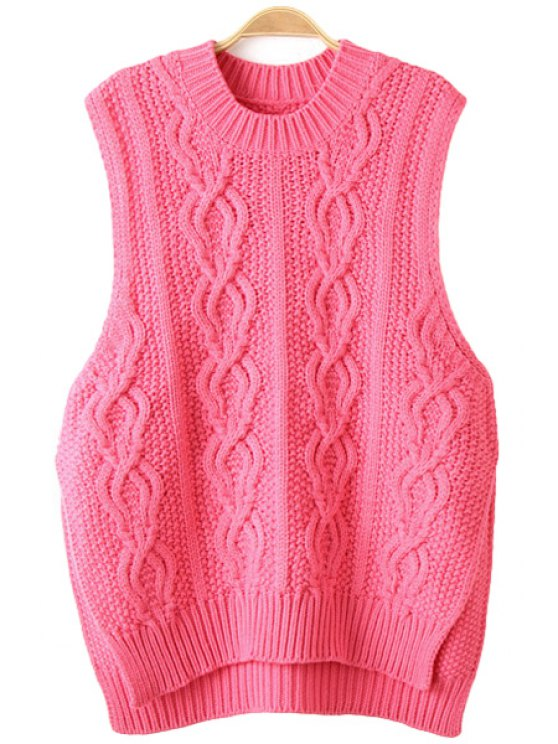 fancy Solid Color Plait Slit Sleeveless Sweater - PINK S
