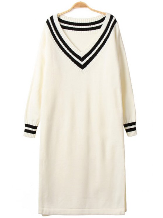 hot Color Block Stripe Long Sleeve Dress - OFF-WHITE ONE SIZE(FIT SIZE XS TO M)