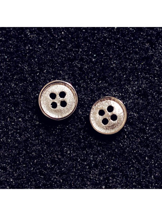 women Pair of Chic Women's Button Shape Earrings - AS THE PICTURE