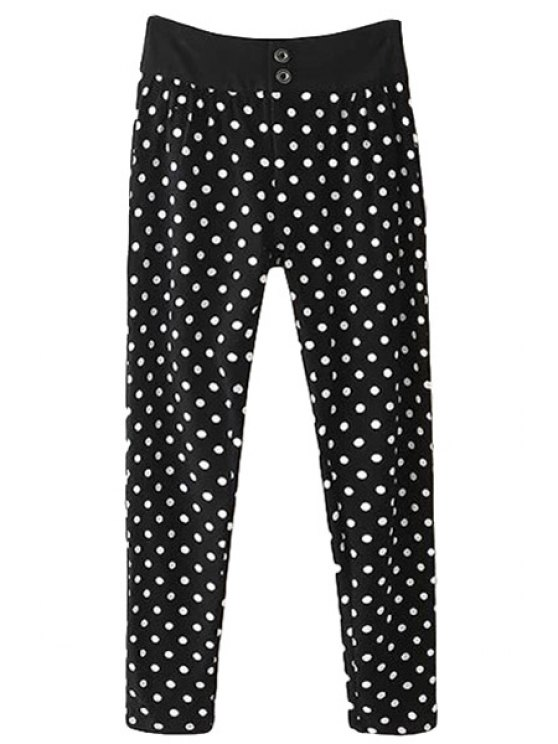 fashion Polka Dot Print Pants - BLACK S