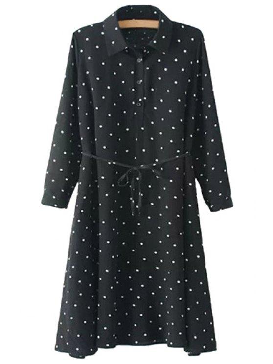 latest Polka Dot Long Sleeve Lace-Up Dress - BLACK S