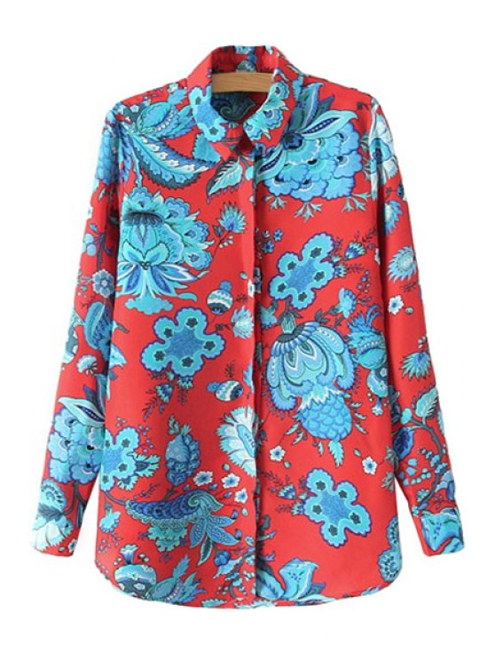 latest Floral Pattern Long Sleeve Shirt - RED S