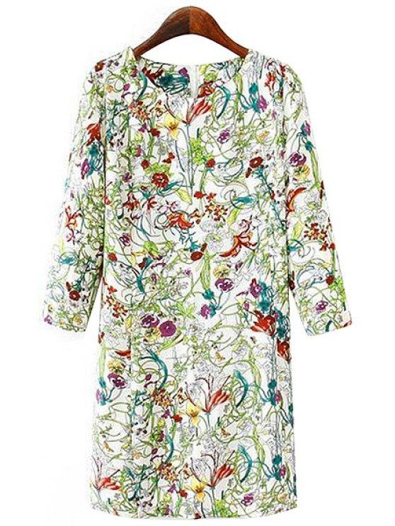 sale Full Floral Print 3/4 Sleeves Dress - CELADON S