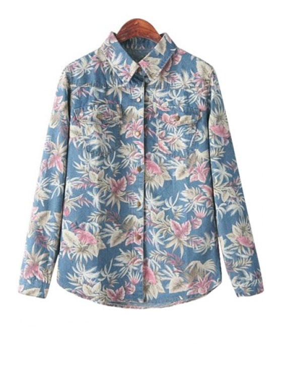 best Floral Print Denim Long Sleeve Shirt - BLUE ONE SIZE(FIT SIZE XS TO M)