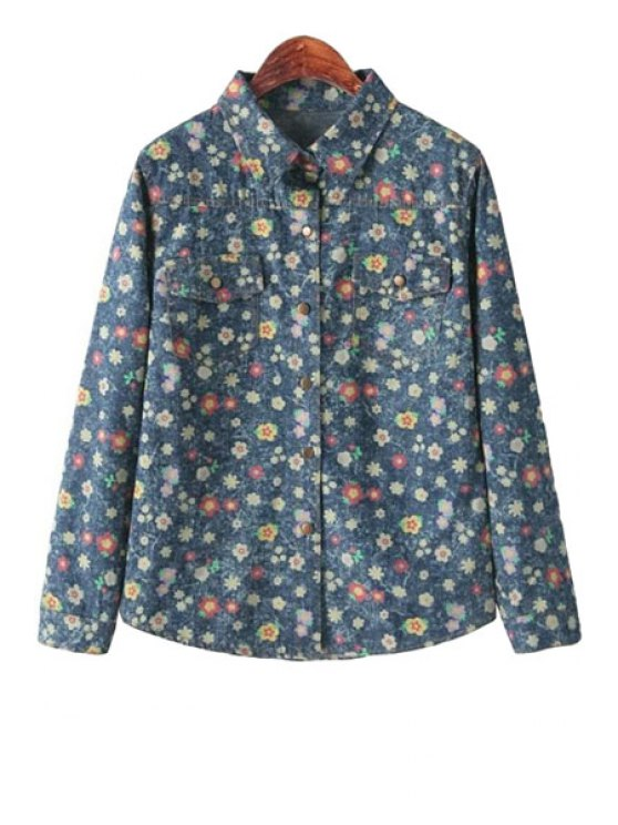 new Tiny Floral Print Denim Shirt - BLUE ONE SIZE(FIT SIZE XS TO M)