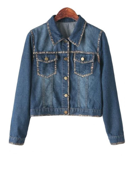 latest Print Denim Long Sleeve Jacket - BLUE ONE SIZE(FIT SIZE XS TO M)