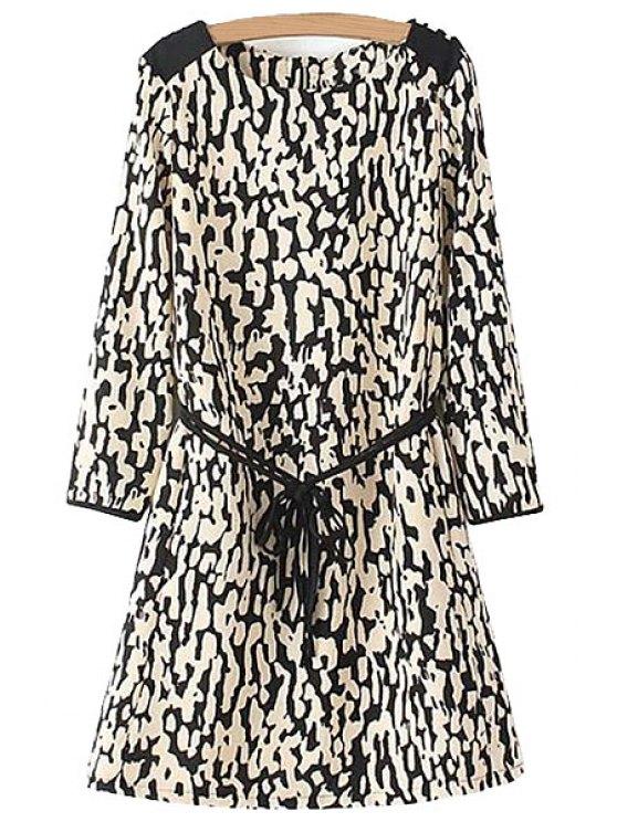 womens Leopard Print Long Sleeve Dress - LEOPARD S