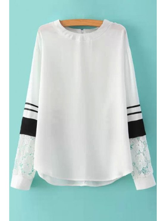 fancy Long Sleeves Lace Splicing Blouse - WHITE S