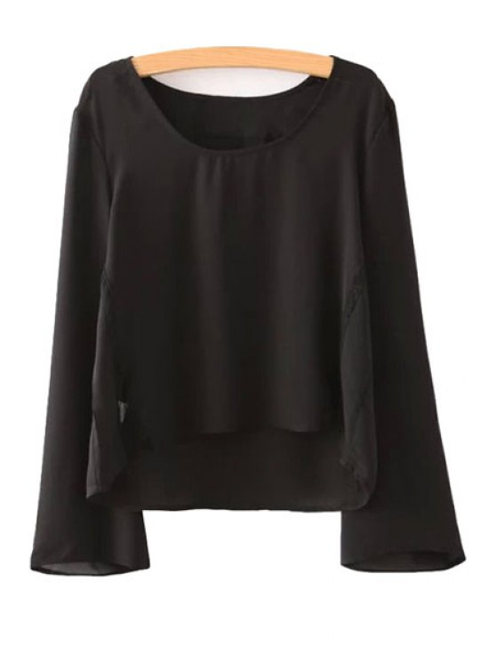 womens Solid Color Flare Sleeve Blouse - BLACK S