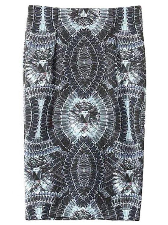 online Gemstone Print High Waisted Skirt - BLACK S