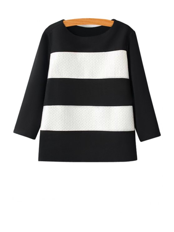 women Color Block 3/4 Sleeves Blouse - WHITE AND BLACK S