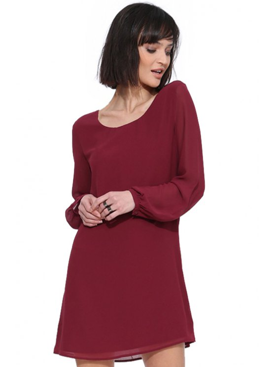 shops Solid Color Long Sleeve Chiffon Dress - WINE RED S