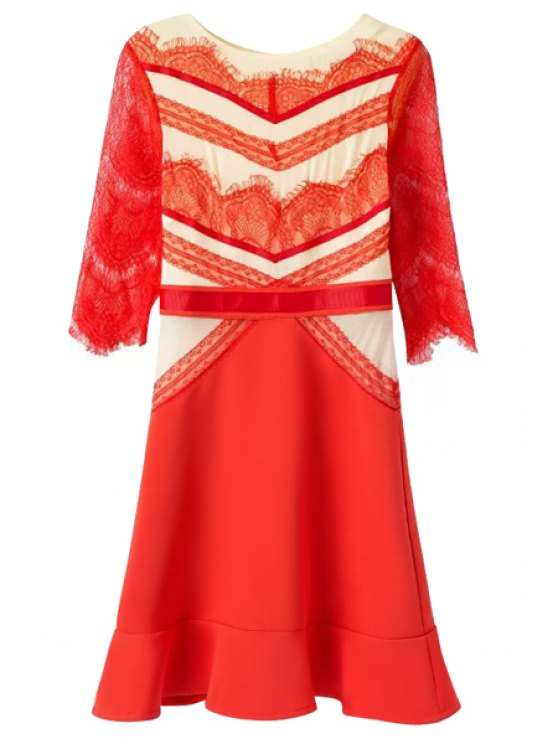 ladies Casual Style Jewel Neck Color Block Lace Splicing Half Sleeve Dress For Women - RED S