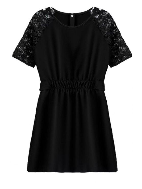 hot Ruffle Buttons Short Sleeve Dress - BLACK S