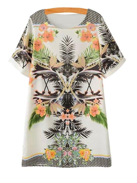 ladies Scoop Neck Floral Print Dress - COLORMIX S