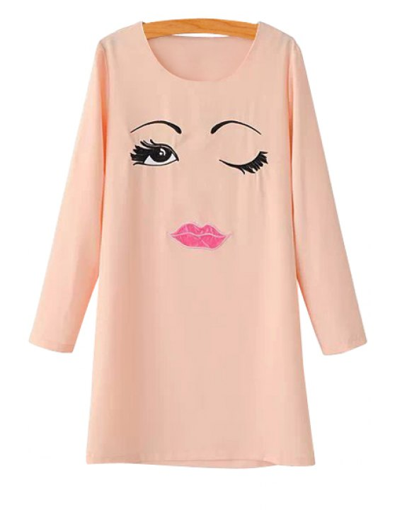 fancy Scoop Neck Face Print Dress - PINK S