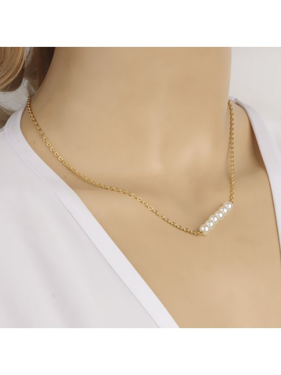 affordable Sweet Simple Style Faux Pearl Necklace for Women - GOLDEN