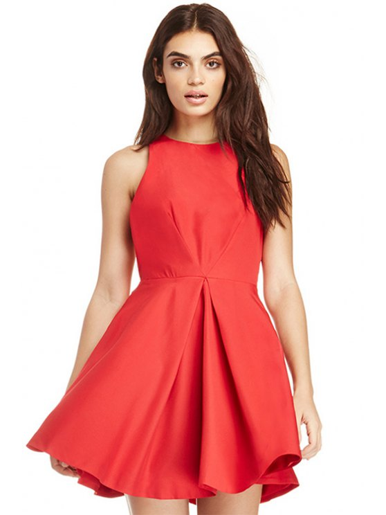 sale Solid Color A-Line Sleeveless Dress - RED S