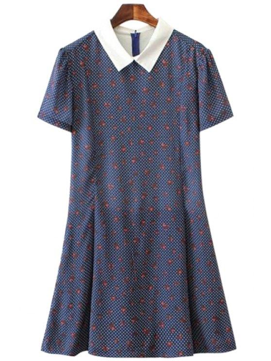 outfits Print Short Sleeve Jumpsuit - PURPLISH BLUE S