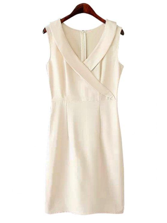 fashion V-Neck Solid Color Slit Dress - OFF-WHITE S