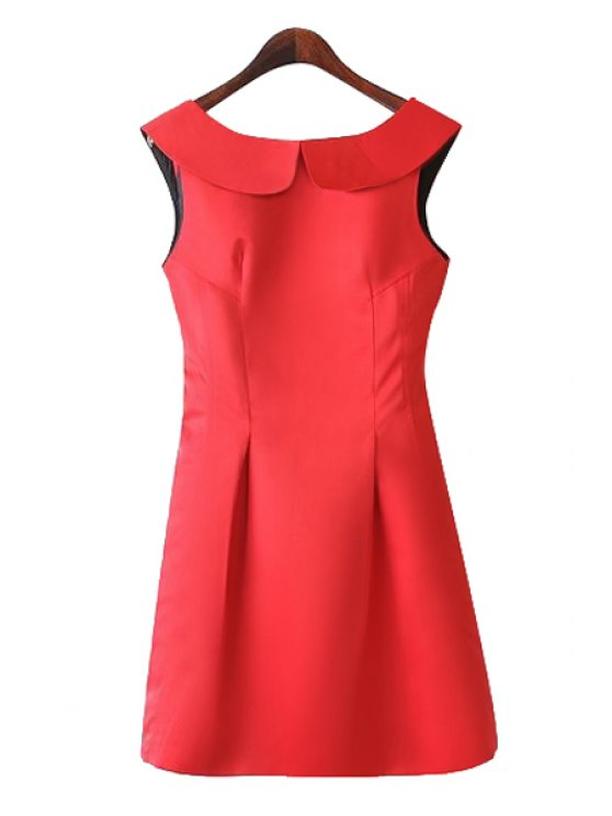 ladies Turn-Down Collar Solid Color Backless Dress - RED S