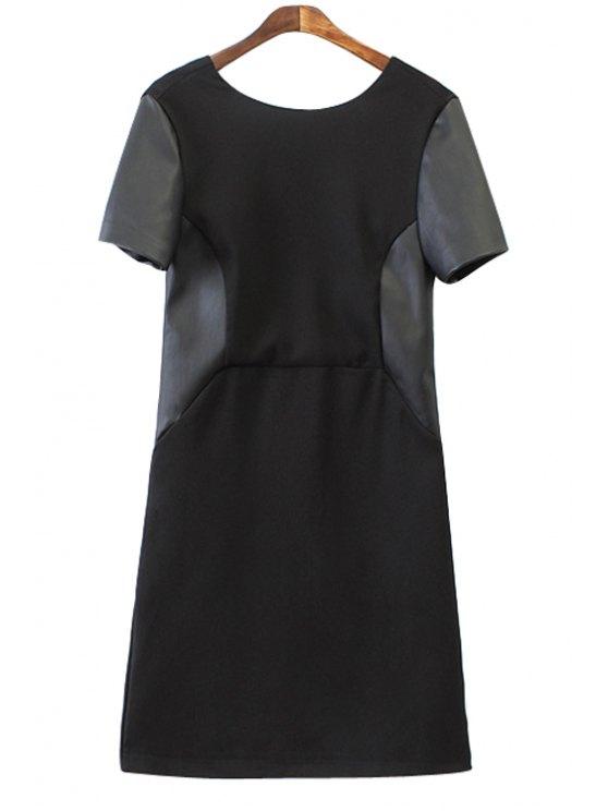 shops Faux Leather Splicing Short Sleeve Dress - BLACK S