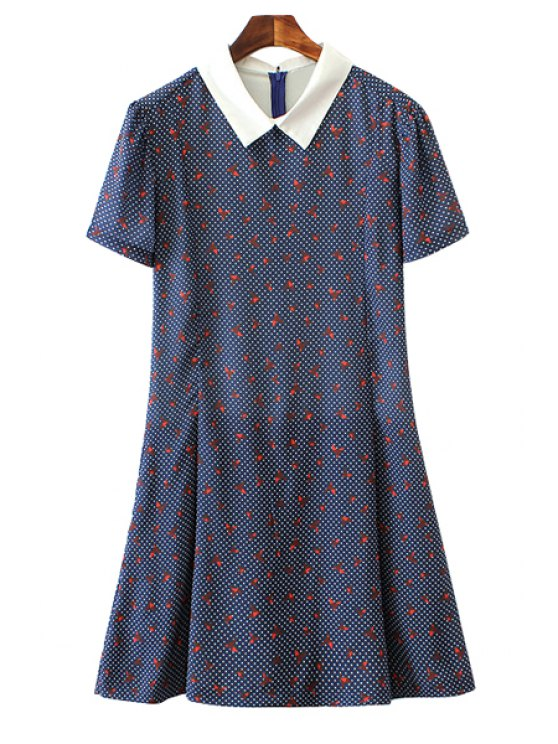 best Paper Crane Print Short Sleeve Jumpsuit - BLUE S