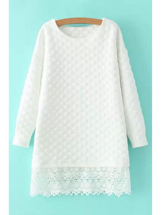 online White Lacework Long Sleeve Dress - WHITE S