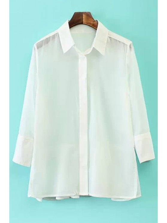 buy Solid Color Ruffles 3/4 Sleeve Shirt - WHITE S