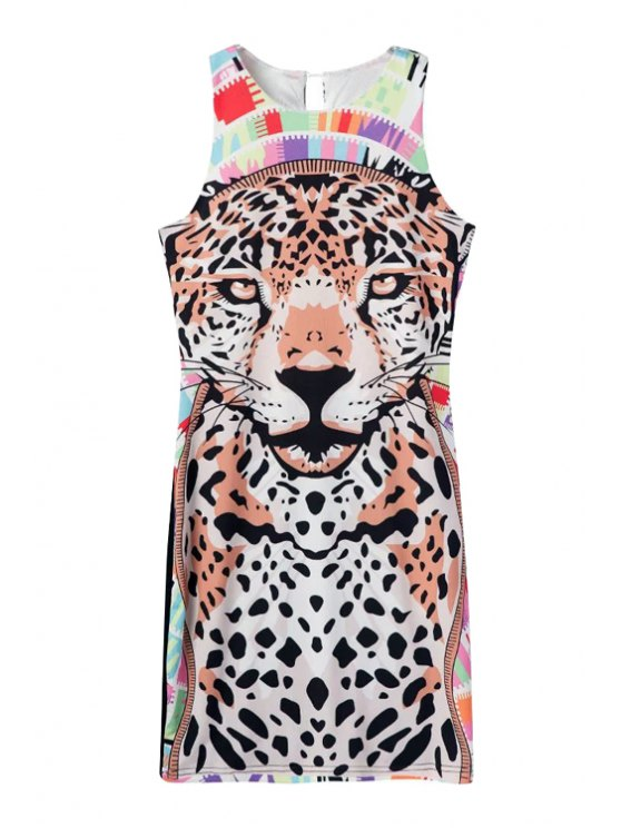 shops Tiger Print Sleeveless Dress - COLORMIX S