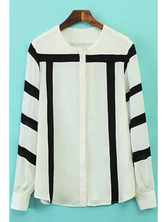 fancy Color Block Long Sleeve Shirt - WHITE AND BLACK S