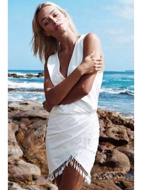 womens V-Neck Fringe Sleeveless Dress - WHITE S
