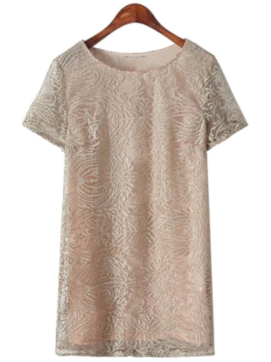 shop Lace Embroidery Short Sleeve Dress - KHAKI ONE SIZE(FIT SIZE XS TO M)