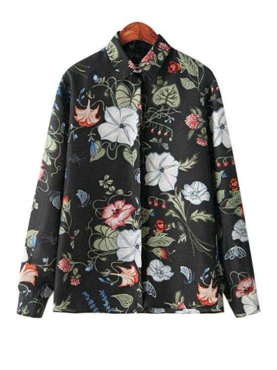women's Floral Pattern Shirt Collar Shirt - BLACK S