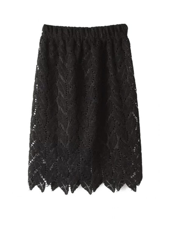 chic Leaves Pattern Openwork Skirt - BLACK ONE SIZE(FIT SIZE XS TO M)