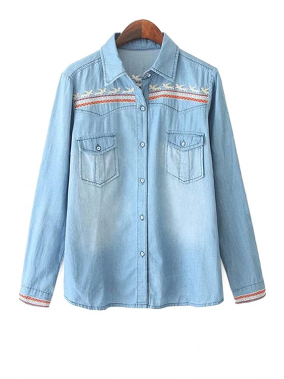 best Embroidery Denim Shirt - LIGHT BLUE S